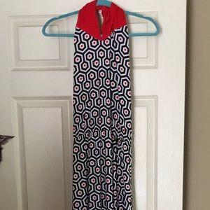 Mud Pie halter dress, size L, geometric pattern